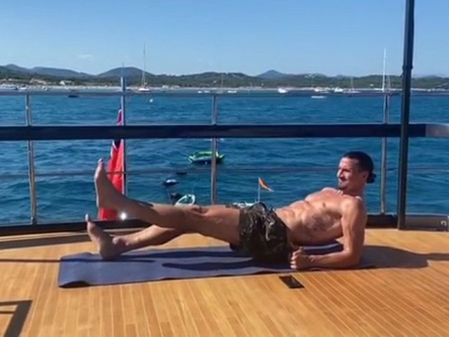 Zlatan Ibrahimovic shows off incredible physique at 38 as he works out on yacht