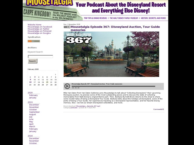 Mousetalgia Episode 367: Disneyland Auction, Tour Guide memories