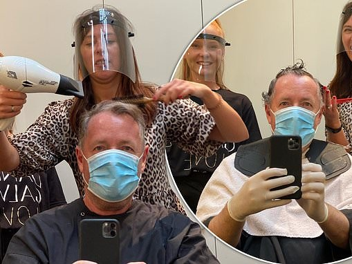 Piers Morgan celebrates easing of lockdown with a haircut in full PPE