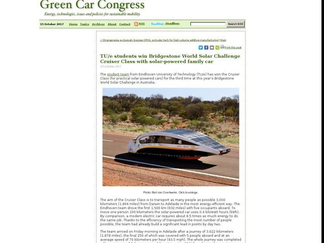 TU/e students win Bridgestone World Solar Challenge Cruiser Class with solar-powered family car