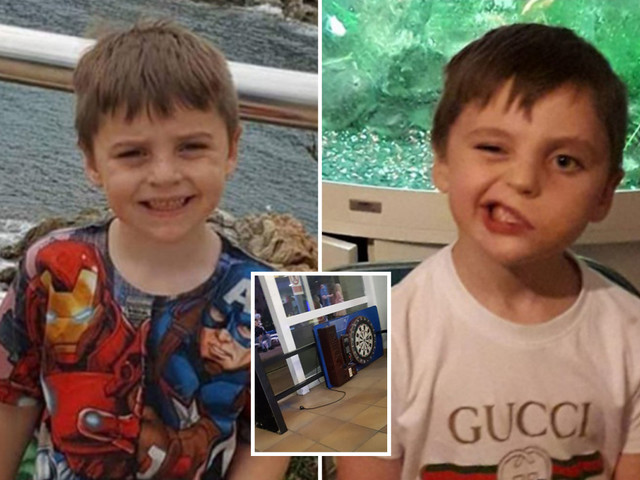 Schoolboy, 6, left brain-damaged with paralysed face and diabetes after being crushed by arcade game on family holiday