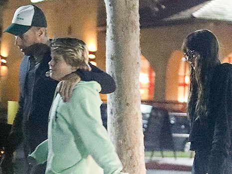 Chris Martin Wraps Arm Around Son Moses, 13 With Girlfriend Dakota Johnson As They Head To Movies