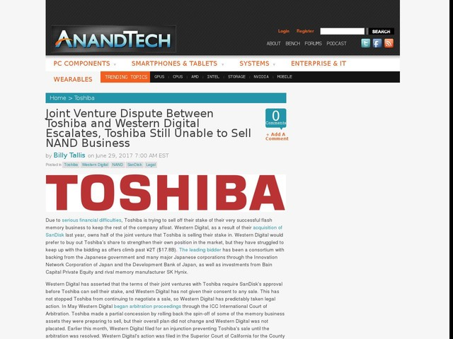 Joint Venture Dispute Between Toshiba and Western Digital Escalates, Toshiba Still Unable to Sell NAND Business