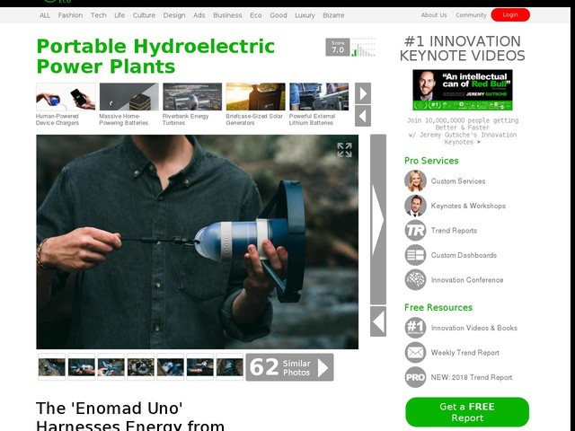 Portable Hydroelectric Power Plants - The 'Enomad Uno' Harnesses Energy from Flowing Water (TrendHunter.com)