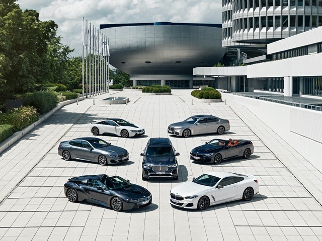 BMW highlights its luxury family in front of their headquarters