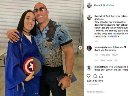 Dwayne Johnson 'proud' of his daughter for graduating high school