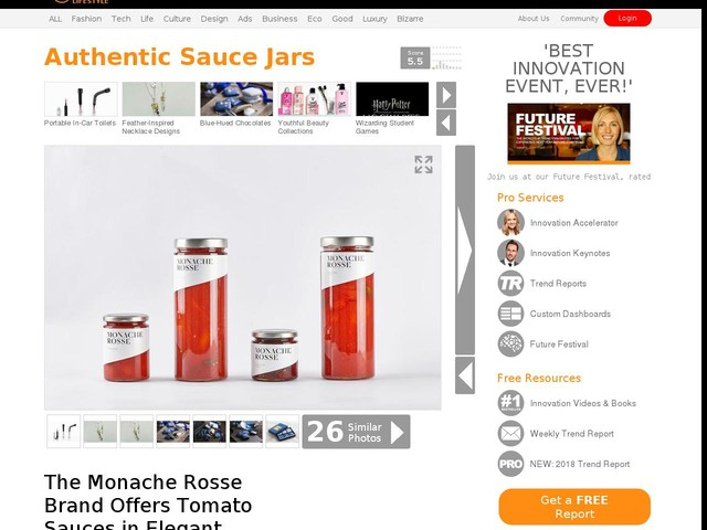 Authentic Sauce Jars - The Monache Rosse Brand Offers Tomato Sauces in Elegant Packaging (TrendHunter.com)