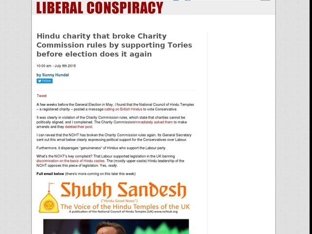 Hindu charity that broke Charity Commission rules by supporting Tories before election does it again