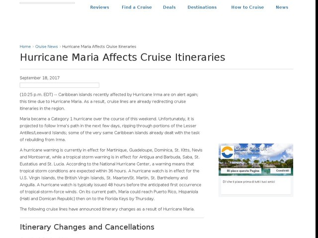 Hurricane Maria Affects Cruise Itineraries