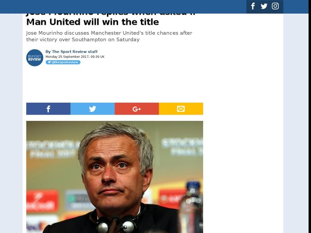 Jose Mourinho replies when asked if Man United will win the title