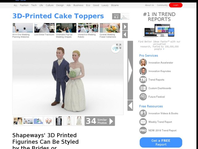 3D-Printed Cake Toppers - Shapeways' 3D Printed Figurines Can Be Styled by the Brides or Grooms (TrendHunter.com)
