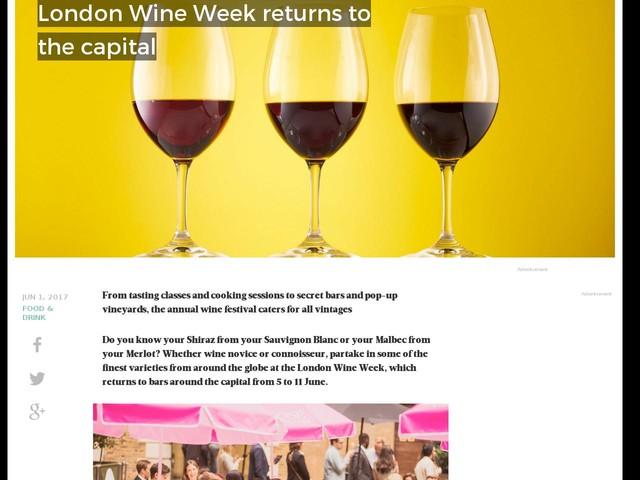 London Wine Week returns to the capital