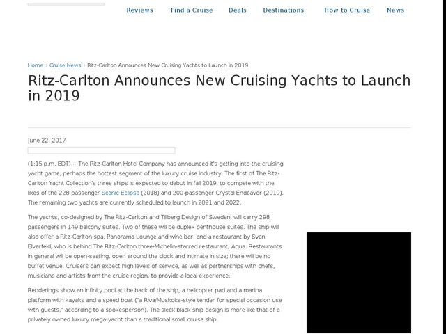 Ritz-Carlton Announces New Cruising Yachts to Launch in 2019