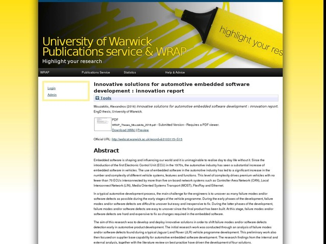 Innovative solutions for automotive embedded software development : innovation report