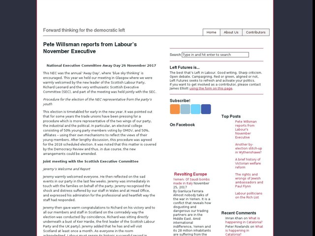 Pete Willsman reports from Labour's November Executive
