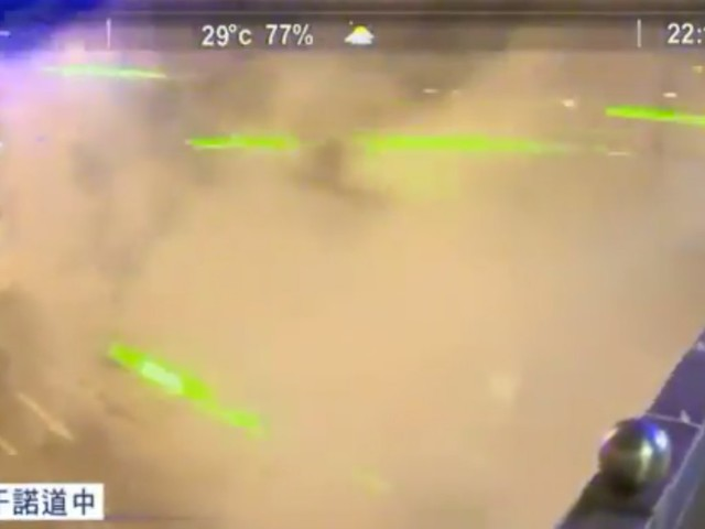 Video shows Hong Kong protesters using lasers to disrupt government facial recognition cameras