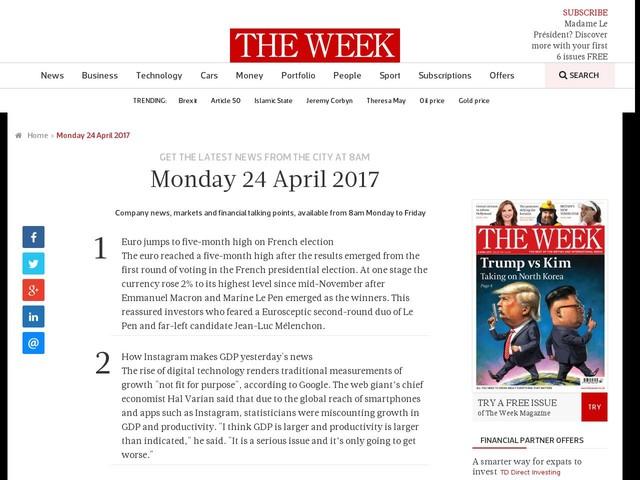 Monday 24 April 2017