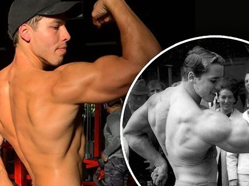 Joseph Baena channels bodybuilder dad Arnold Schwarzenegger as he strikes a pose at the gym