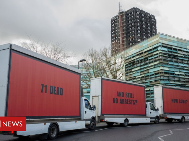 Grenfell Tower campaigners in 'Three Billboards' stunt