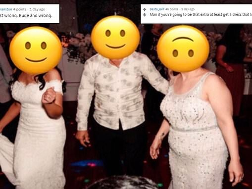 Guest is branded 'tacky' for wearing a white beaded gown to her sister-in-law's wedding