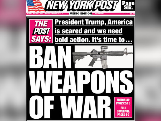Murdoch-Owned New York Post Calls for Assault Weapons Ban