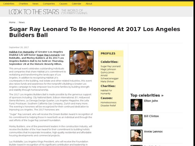 Sugar Ray Leonard To Be Honored At 2017 Los Angeles Builders Ball