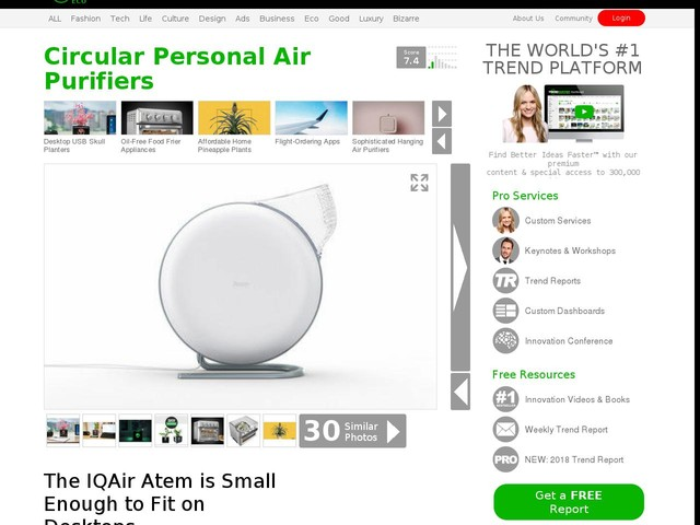 Circular Personal Air Purifiers - The IQAir Atem is Small Enough to Fit on Desktops (TrendHunter.com)