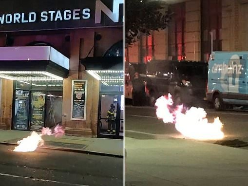 Fire bursts from below as Hell's Kitchen bedeviled by manhole explosions canceling Broadway shows