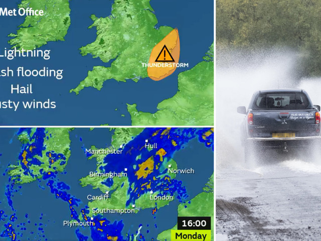 UK weather forecast – Thunderstorms and lightning to spark chaos as flash floods predicted to hit London and eastern England