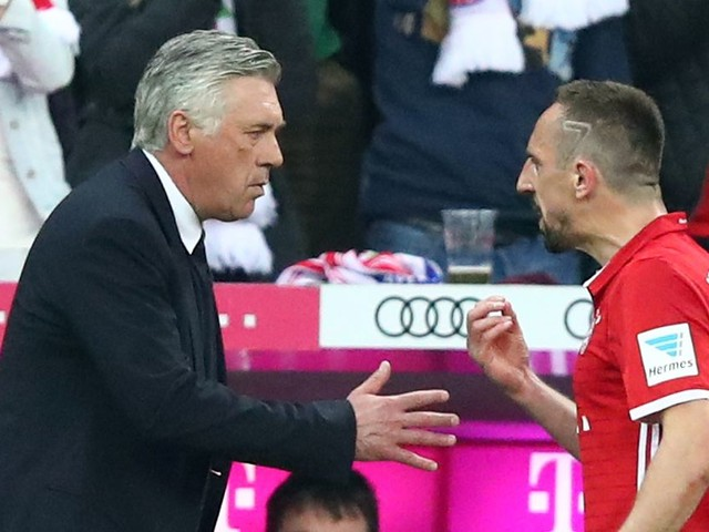 Furious Franck Ribery gets a KISS from Carlo Ancelotti after substitution - and makes Arjen Robben jealous