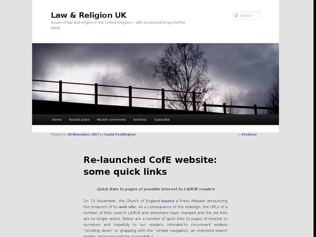 Re-launched CofE website: some quick links