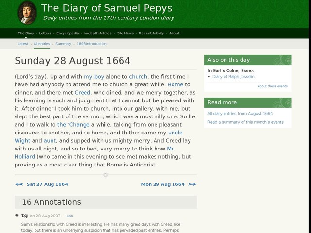 Sunday 28 August 1664