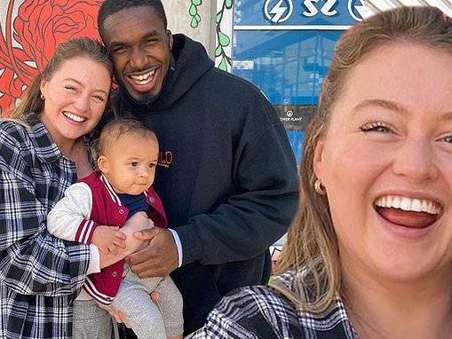 Iskra Lawrence reveals partner Philip Payne is already talking to their young son about race