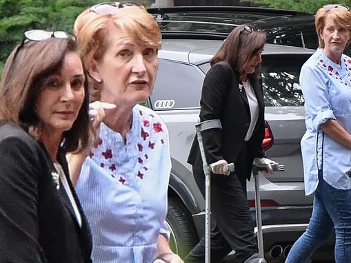 Shirley Ballas uses crutches as she's seen for the first time since breaking her ankle