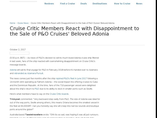 Cruise Critic Members React with Disappointment to the Sale of P&O Cruises' Beloved Adonia
