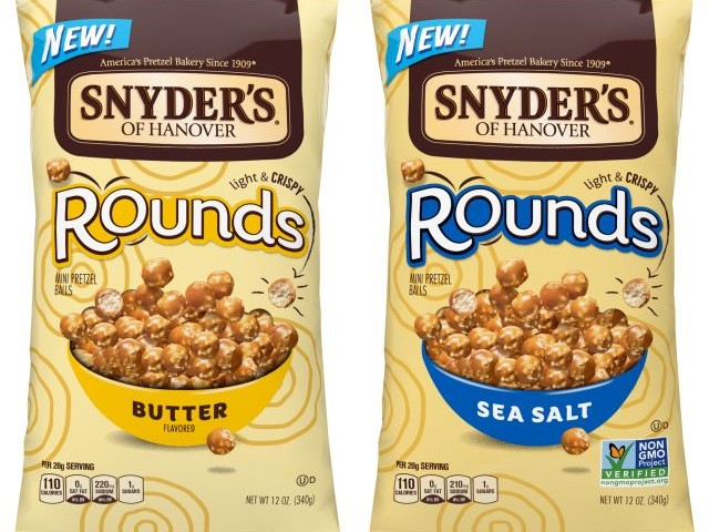 Airy Spherical Pretzel Snacks - The Snyder's of Hanover Pretzel Rounds Come in Two Flavors (TrendHunter.com)
