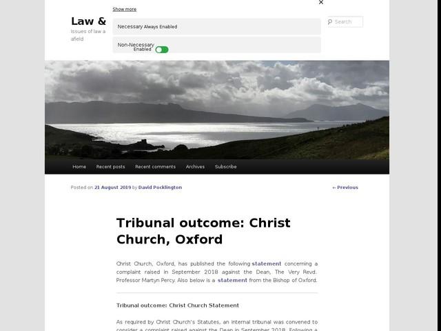 Tribunal outcome: Christ Church, Oxford