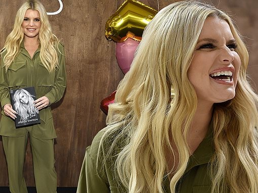 Jessica Simpson rocks an olive green jumpsuit at Open Book signing in Nashville