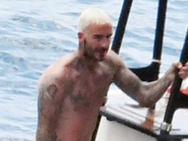 David Beckham Jumps Off a Yacht with His Pink-Haired Son Cruz