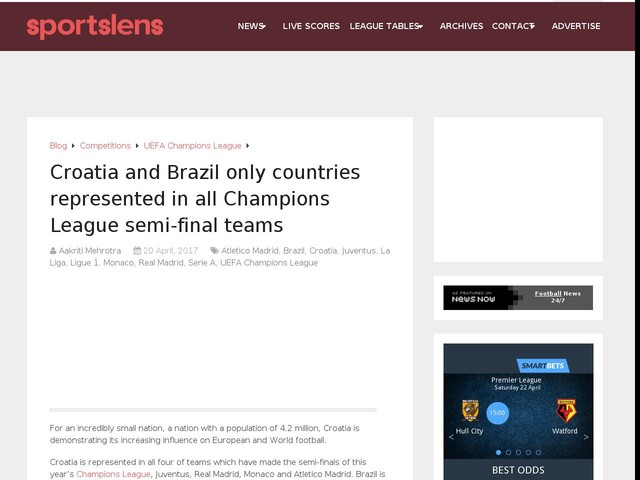 Croatia and Brazil only countries represented in all Champions League semi-final teams