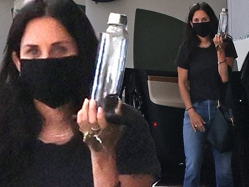 Courteney Cox goes casual chic in black at business meeting in LA during break from quarantine