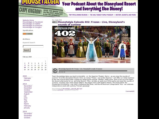 Mousetalgia Episode 402: Frozen - Live, Disneyland's sounds of summer