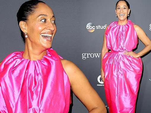 Tracee Ellis Ross is pretty in pink as she joins Black-ish co-stars at Embrace Your Ish event in LA