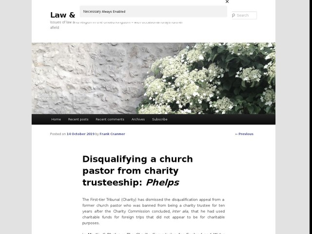 Disqualifying a church pastor from charity trusteeship: Phelps