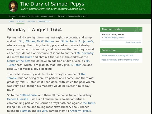 Monday 1 August 1664