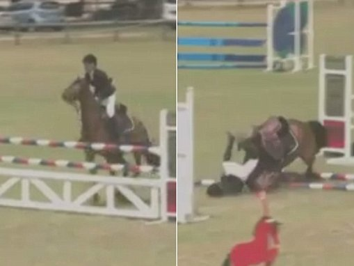 Teenager falls off horse in horror equestrian event