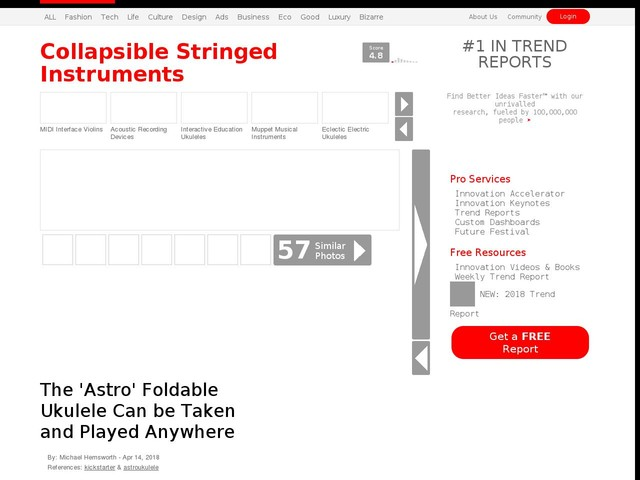 Collapsible Stringed Instruments - The 'Astro' Foldable Ukulele Can be Taken and Played Anywhere (TrendHunter.com)