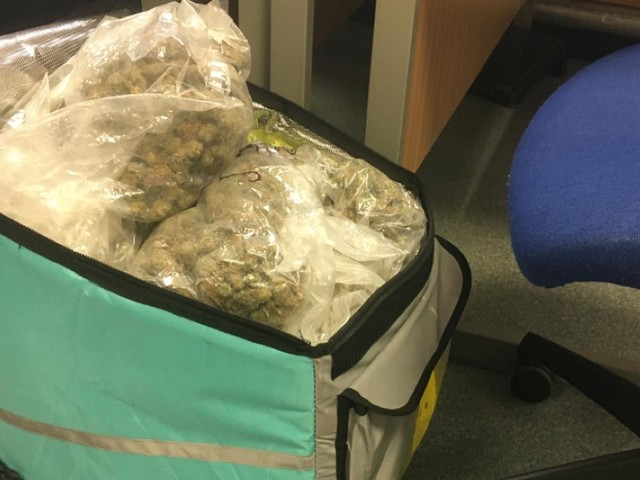Deliveroo bag filled with cannabis seized by police