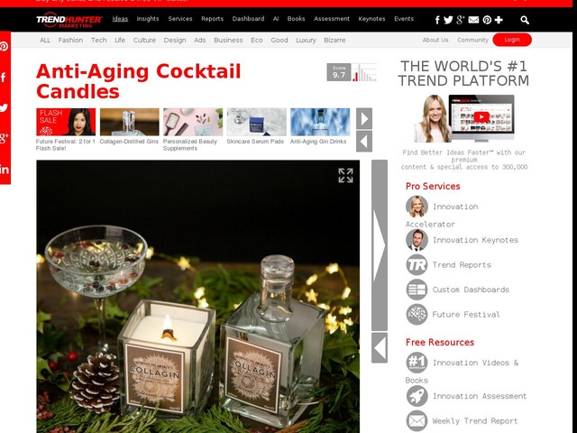 Anti-Aging Cocktail Candles - Collagin Created Cocktail-Scented Gin and Tonic Candles (TrendHunter.com)