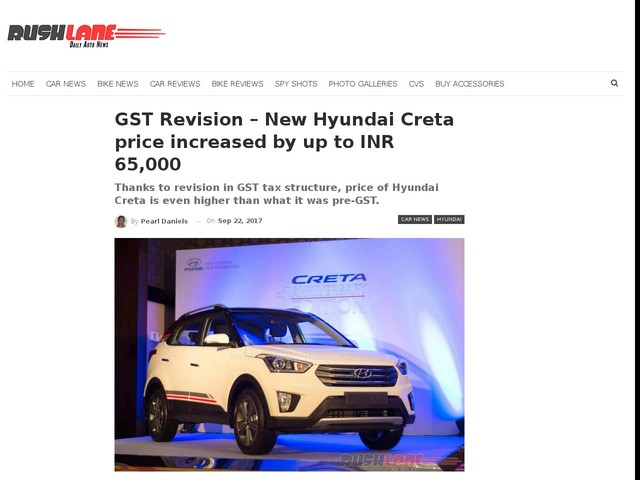GST Revision – New Hyundai Creta price increased by up to INR 65,000